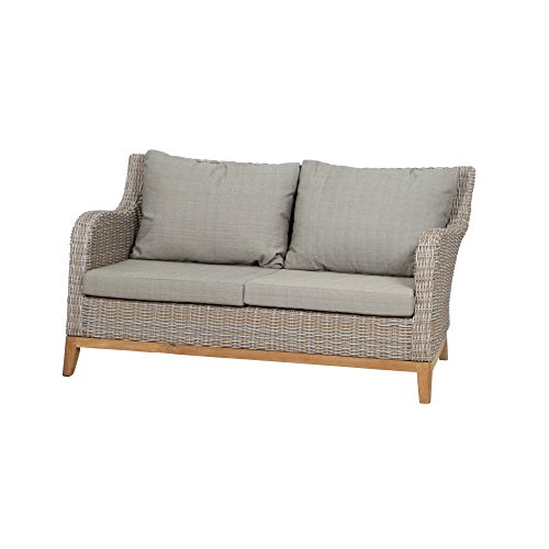 Siena Garden Lounge 2er Sofa Almada, 79x150x81cm, Gestell: Aluminium, Fläche: Gardino-Geflecht in oak-grey, FSC 100%, Kissenbezug aus Polyester in beige