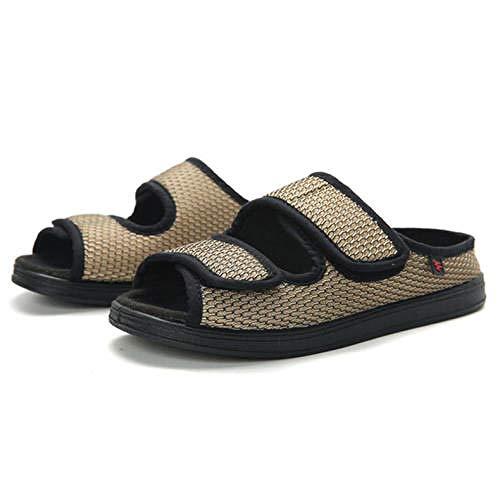 TDYSDYN Calzado para Calzado de Salud para la Diabetes,Pantuflas de Malla Transpirable de Primavera y Verano, Suela de Goma Ajustable Zapatos de Tela Suelta-Khaki_41