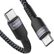 Nimaso USB C 3.0 Kabel (1m,Schwarz & Grau), Nylon Geflochtene USB C auf USB C Ladekabel, Schnellladekabel und Datenkabel für MacBook, iPad pro 2018, Samsung S9 S8, Huawei Matebook, Chromebook Pixel