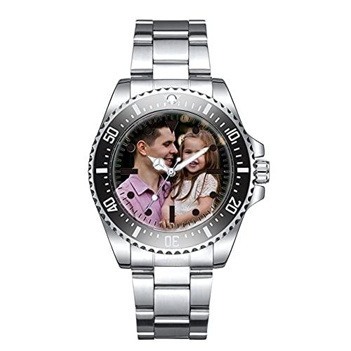 Reloj con Foto Personalizado, Reloj Personalizado para Hombre, Reloj Grabado, Reloj Impermeable, Reloj De Aleación, Cumpleaños, Aniversario, Día del Padre para Papá