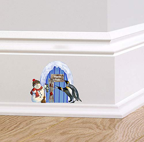 Full Colour Blue North Pole Pixie Elf Door Wall Sticker Decal Christmas Festive Skirting Board Mural