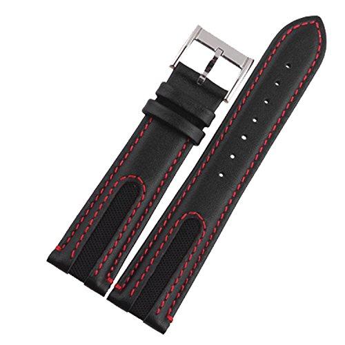 New 21mm nero in pelle automatico orologio da polso con cucitura rossa uomo Wristaband
