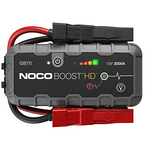 NOCO Boost HD GB70 2000 Amp 12-Volt UltraSafe Lithium Jump Starter Box, Car Battery Booster Pack, Portable Power Bank Charger, and Jumper Cables For 8-Liter Gasoline and 6-Liter Diesel Engines