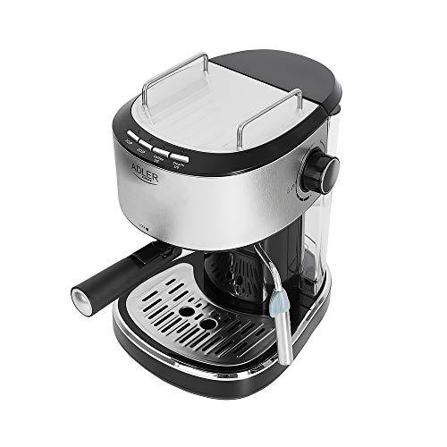 ADLER 4408 Kaffeemaschine mit Milchaufschäumer, Siebträgermaschine, Espressomaschine, Kaffeebrühmaschine 850W 15 Bar, Espresso, Latte, Cappucino Caffee, Silber