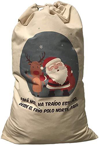 FUN FAN LINE - Saco para Regalos. Bolsa Extra Grande Lona de Calidad con Cordones. Adorno decoración navideña (Papá Noel)