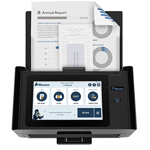 Raven Pro Document Scanner - Huge LCD Touchscreen, High Speed Color Duplex Feeder (ADF), Wireless Scan to Cloud, WiFi, Ethernet, USB, Home or Office