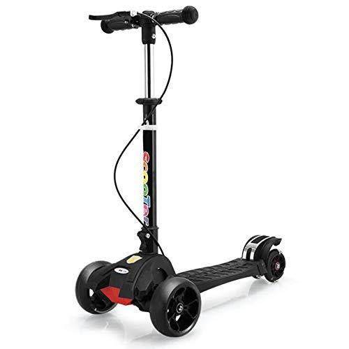 DYX Folding Kick Scooter mit, Kinderroller Stoßdämpfer Vier-Rad-Blitz faltendes breites Rad mit Handbremse Pedal Roller (Color : Black)