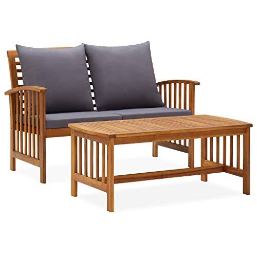 vidaXL Madera Maciza de Acacia Muebles de Jardín 2 Piezas con Cojines Patio Exterior Terraza Silla Asiento Suave Salón Mesa de Centro con Respaldo