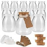 DOGE COOK® – 12 Tarros de Vidrio para Yogurt (150 mL) • Tapa Hermética de Plástico y Corcho • Compatible con Yogurtera • 24 Etiquetas + Cuerdas + E-book DE REGALO • Kit Completo para Cocinar en Casa