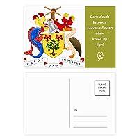 ブリッジタウンバルバドスの国章 詩のポストカードセットサンクスカード郵送側20個