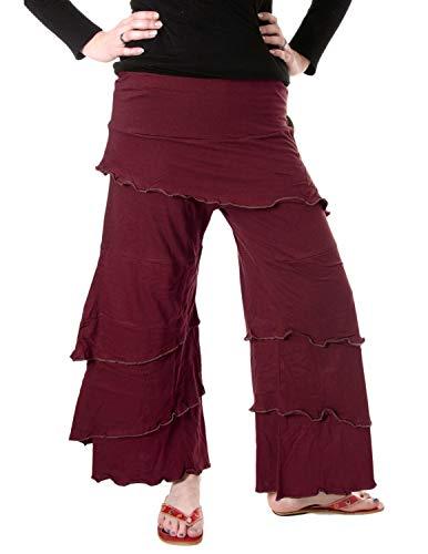 Vishes- Alternative Bekleidung Lagenlook Schlaghose aus Baumwolle - Kurzgröße dunkelrot 38