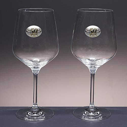 Set de 2 Copas de Cristal para Vino o Agua - para Novios - Bodas de Plata/Oro - Aniversarios - colección IMAGE-50 Aniversario - Aplique bilaminado.