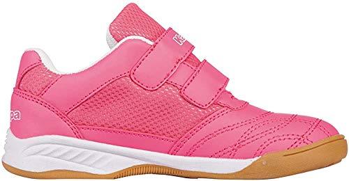 Kappa Mädchen Turn-Schuhe Kick-Off | Sneaker für Kinder mit Klettverschluss | Helle Sohle, Ideal für Hallen Sport wie Fußball, Handball oder Tennis | Pink (2210 Pink/White), Größe 33 EU