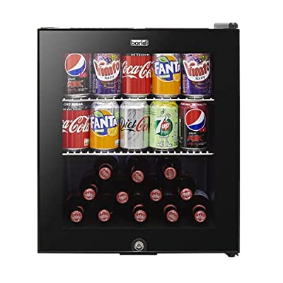 Baridi Mini Wine/Drink/Beverage Cooler/Fridge, Built-In Thermostat, LED Light, Security Lock, Energy Class A+, 46 Litre - Black from Dellonda