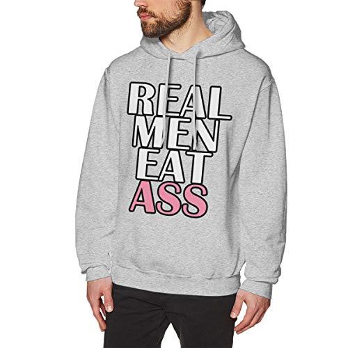 Long Sleeve Hoodie Sweatshirt for Men, Real Men Eat Ass Size M Gray