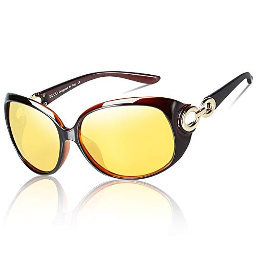 DUCO Damen HD nacht brille für autofahrer frauen Elegante Ovale Nachtfahrbrille 1220 (brown)