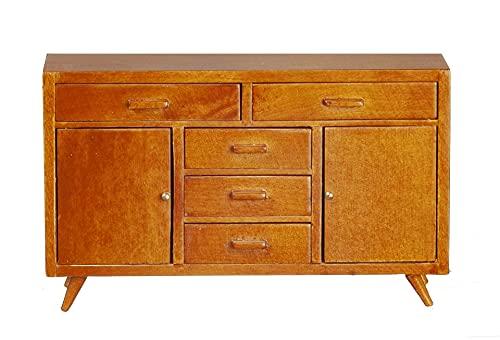 Melody Jane Dollhouse Mid Century Modern Walnut Sideboard Cabinet JBM Miniature Furniture