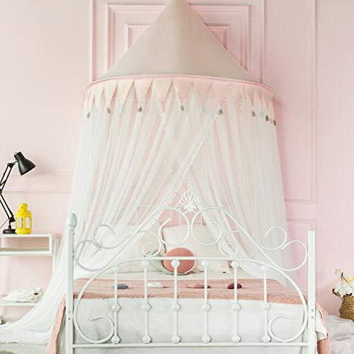 YONG Prinzessin Moskitonetz Himmelbett-Moskitonetz Spitzen-Betthimmel für Kinder Fliegen und Insekten-Schutz und Dekoration,Prinzessin Halbmond Moskitonetz,Garnlänge: 2,8 m,Durchmesser: 1,5 m (Pink)