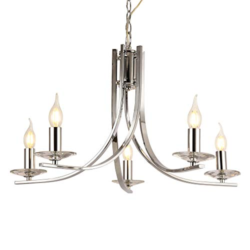 lux.pro Design Kronleuchter 5-flammig Lüster Moderner Deckenleuchte Hängeleuchte für die Wohnung Chrom Leuchte 5xE14 max 40W