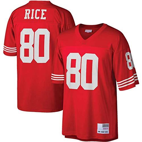 FTING Chalecos de fútbol americano para hombre Jerry 49ers NO.80 San Francisco Rice Mitchell & Ness Legacy Jersey - Rojo