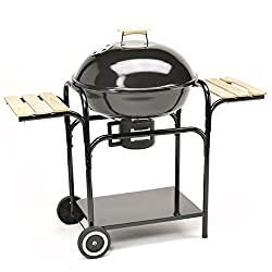 TAINO ball grill 57 cm diameter charcoal grill Smoker grill with lid - Large grill surface in black