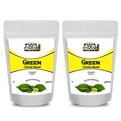 Indian Whey Pure Unroasted Green Coffee Bean Support Weight Loss and Natural Immunity Booster, Supports Metabolism and Weight Management, 500g Pack of 2