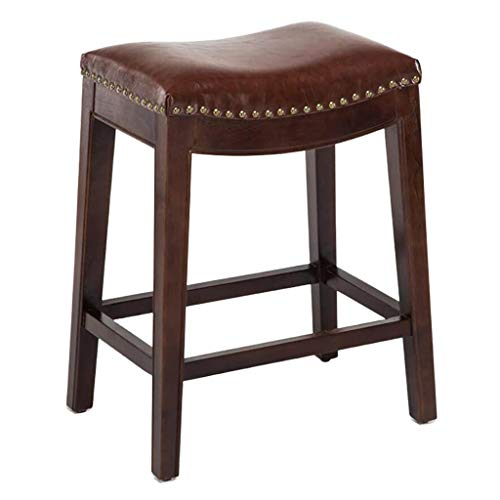 ZZFF Backless Faux Leather Counter Stools,Wood Upholstered Saddle Stools Indoor Outdoor Ergonomic Bar Stool Kitchen Chair Footrest Brown 50x35x55cm(20x14x22inch)