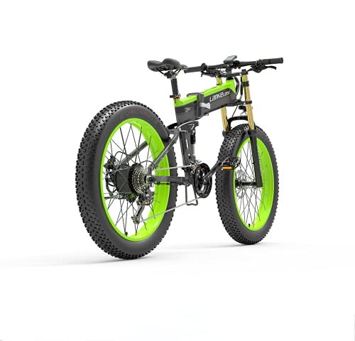 LANKELEISI Adult Electric Bike, 48V 14.5AH 1000W 750PLUS All-round Electric Bicycle, 26' 4.0 Fat Tire Mountain Folding Electric Bicycle, with Anti-theft Device (Green, Add spare battery)