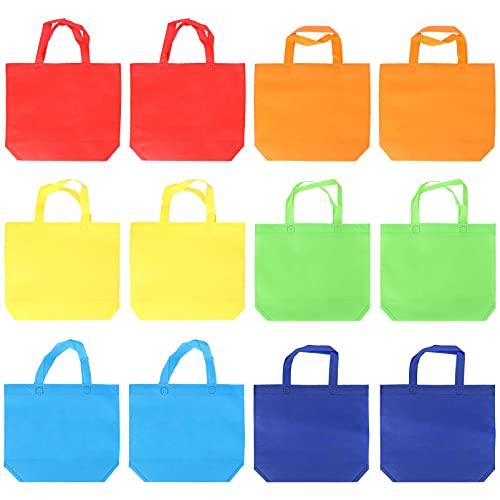 POPETPOP 12St Icke- Vävda Väskor Återanvändbara Matpåsar Regnbåge Färger Tyg Påse Med Handtag Part Favor Gift Tote Väskan Goodie Treat Väskor