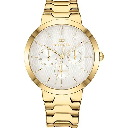 Tommy Hilfiger Damen Multi Zifferblatt Quarz Uhr mit Edelstahl Armband 1782077