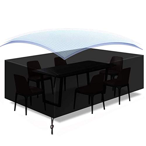 HYDL Garden Furniture Cover, Garden Sunbed Cover Patio Table Covers Waterproof Rectangular Outdoor Table Cover for Patio Protective Furniture Covers 420D Oxford Black