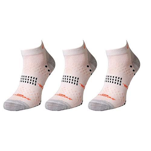 Comodo 3 Pares de Calcetines para Correr | Mujeres/Hombres | Zapatillas de Deporte | Funcionales | RUN5 - Blanco | Tamaño: 35-38