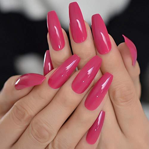 CLOAAE Long Solid Color Simple Acrylic Nail Tips Coffin Pink Adult Artificial False Nail Full Cover Adhesive False Nail Tips