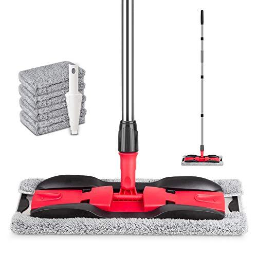 Floor Mop, PAPCLEAN Microfibre Flat Floor Mop with 4 Reusable Microfiber Mop Head Pads - 360 Degree Rotating Mop Suitable for Hardwood, Marble, Tile, Laminate, or Ceramic Floors Cleaning -Black/Red