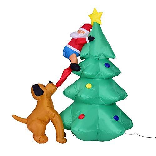 NBWS 1,8 m opblaasbare kerstboom, licht, LED-verlichting, decoratie voor honden, opblaasbaar, kerstman, decoratie, kerstdecoratie