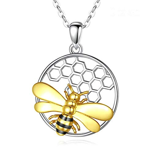 JNFGH Handmade Pendant Necklaces For Women,European Cute Bee Honeycomb Pendant 925 Sterling Silver Jewelry For Ladies Girls Weddings Proms Birthday Party Other Special Occasions Gifts