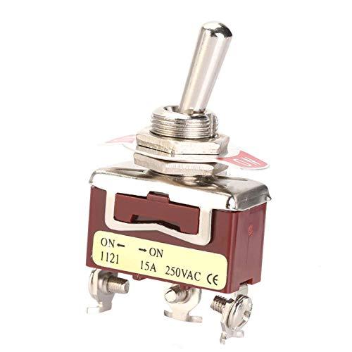 5 piezas 12 mm interruptor de palanca basculante resistente y duradero 12 mm interruptor de palanca SPDT de 3 pines y 2 posiciones ON-ON 3 terminales de tornillo 15A 250V para automóvil