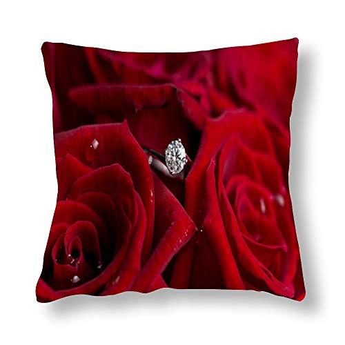 Perfecone Home Improvement - Funda de almohada de algodón para sofá y coche, diseño de rosas rojas y diamantes (1 unidad), 45 x 45 cm