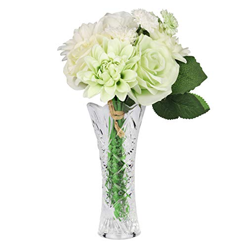 Flores Artificiales con Florero - Conjunto de 8 Flores de Seda Artificiales y Jarrón para Decoración de Hogar, Balcon, Bouquet, Bodas Fiestas y Centro de Mesa - Crisantemo Dalia Rosas Flores