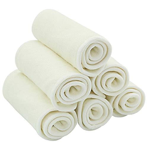 Yeelan 10Pcs Forros de Pañales de Tela para Bebés Pañales de Bolsillo de Pañal Superfine Fiber Reutilizables y Lavables de Bolsillo para Niños Pequeños y Adultos (Blanco, 35 * 13.5cm / 13.8 * 5.3in)