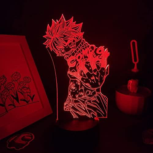 Luz nocturna 3D para niños, diseño de cola de anime, lámpara 3D, luces LED de noche RGB, multicolor, manga, regalo, dormitorio, mesa, decoración de mesa, 16 colores se pueden controlar a distancia.