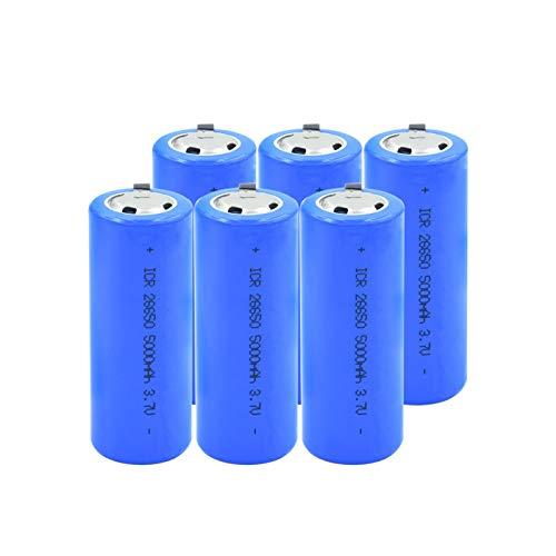 hsvgjsfa 26650 BateríAs Recargables 3.7v 5000mah Batería De Iones De Litio De Litio, Batería 26650 con 2 PestañAs para Linterna Frontal 6pieces