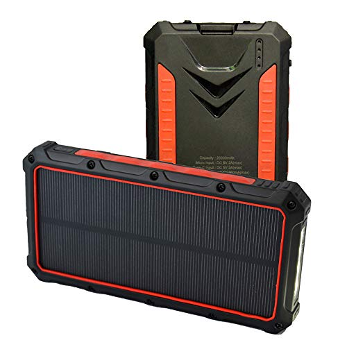 SPARKX Solar Wireless Large Capacity Mobile Power 20000Mah, Battery Pack, with 2 Inputs And 2 Outputs, with Flashlight, Suitable for Laptops, Mobile Phones, Etc, 1 Piece,B