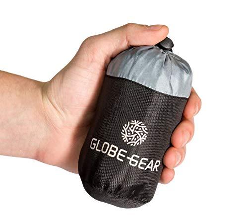 GlobeGear - Saco de Dormir de Viaje más pequeño en Todo el Mundo, Ligero y Agradable en la Piel, Buena circulación del Aire, hostales y países Tropicales.