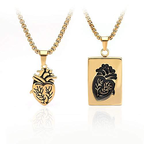 ATHQ Puzzle Schmuck Paar Anatomie Herz Halskette Weiblich Edelstahl Kette Anhänger, HerzSet, Gold, China