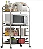Multifunción 4 capas de microondas horno de carro cocina de acero inoxidable Cocina Rack estantes de almacenamiento for horno de microonda de estanterías Suministros LINGZHIGAN