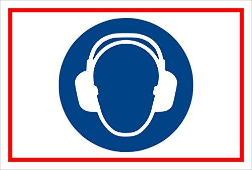 Stickers schild - Bodstekens - Gehoorbescherming gebruiken - komt overeen met DIN ISO 7010/ASR A1.3 - S00361-005-B +++ in 20 varianten verkrijgbaar