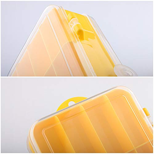 Fishing Accessories Storage Boxes, 2 Pieces Plastic Bait Storage Box, Double Sided Bait Box, Fishing Terminal Tackle Storage Box for Fishing Hook, Float, Fishing Fine (Yellow)