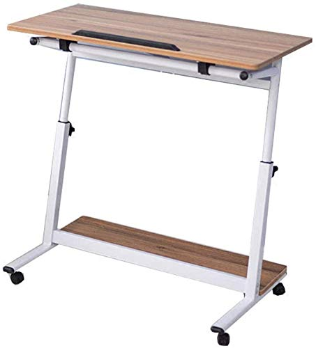 LY88 lade tafel, verstelbare bank zijbed tafel draagbare bureau met wielen overbed tafel Laptop Cart, 80 x 40 cm Desktop