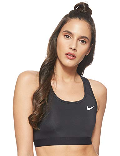 Nike Womens Med Band Non Sports Bra, Black/Black/White, M